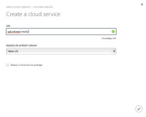 Set Name and region for Cloud Service