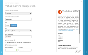 Virtual Machine Configuration - name, size and password,