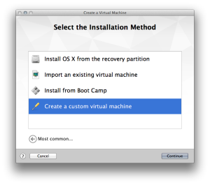 Create a custom virtual machine in VMWare Fusion