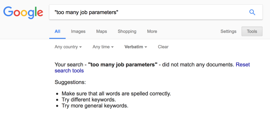 too many job parameters